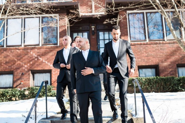 Black and White Tuxedo for Groom and Groomsmen: Warm & Romantic Winter Wedding at Duquesne from Loren DeMarco Photography featured on Burgh Brides