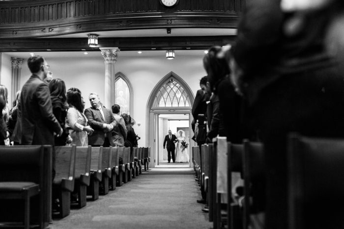 Bride Walking Down Aisle: Warm & Romantic Winter Wedding at Duquesne from Loren DeMarco Photography featured on Burgh Brides