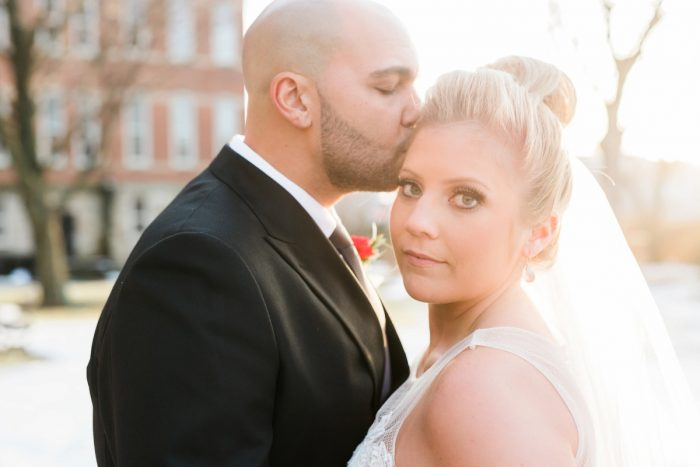Glam Bride Makeup and Top Knot Hair Style: Warm & Romantic Winter Wedding at Duquesne from Loren DeMarco Photography featured on Burgh Brides