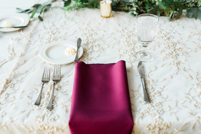 Burgundy Napkin Wedding Tablescape: Warm & Romantic Winter Wedding at Duquesne from Loren DeMarco Photography featured on Burgh Brides