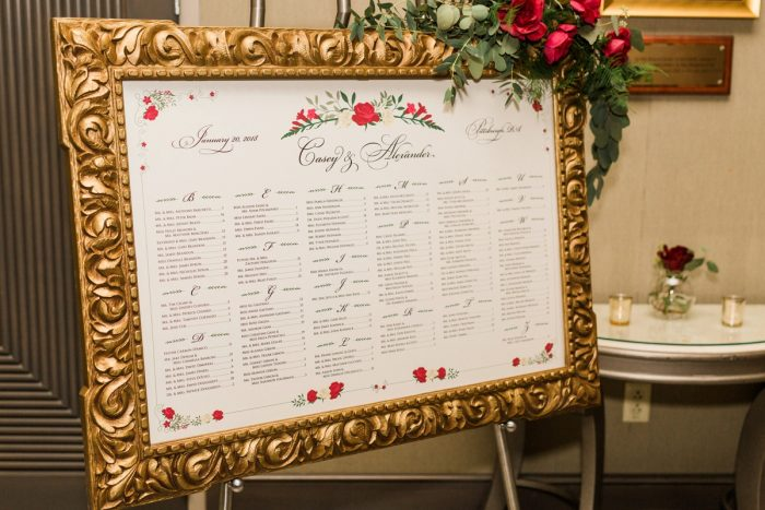 Wedding Seating Chart Sign in Gold Frame: Warm & Romantic Winter Wedding at Duquesne from Loren DeMarco Photography featured on Burgh Brides