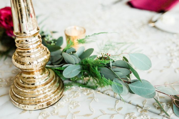 Greenery Table Runner on Brocade Linens at Wedding: Warm & Romantic Winter Wedding at Duquesne from Loren DeMarco Photography featured on Burgh Brides