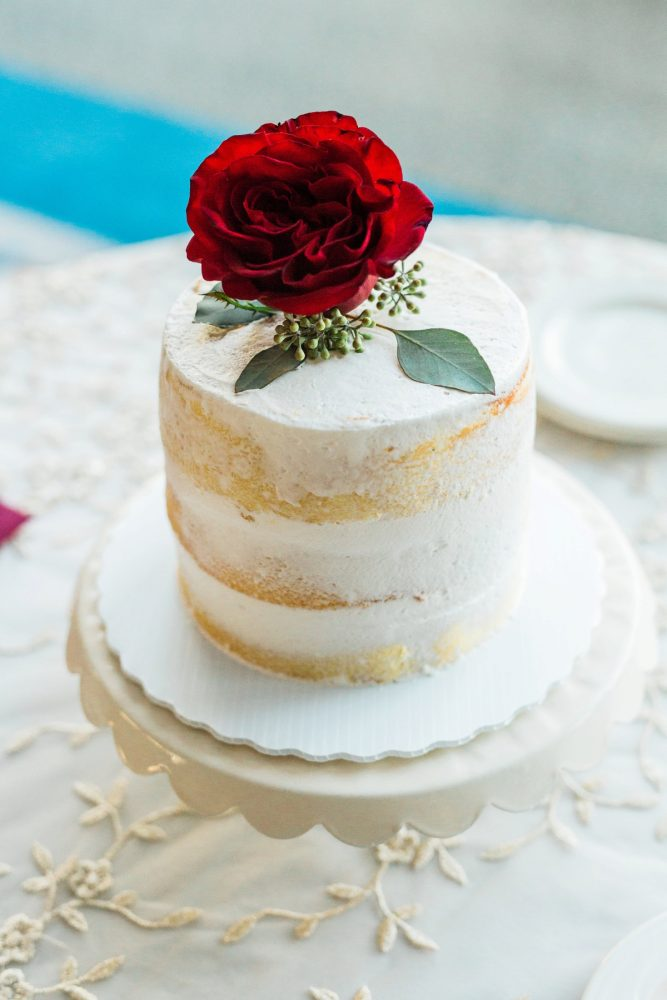 Naked Wedding Cake with Red Rose: Warm & Romantic Winter Wedding at Duquesne from Loren DeMarco Photography featured on Burgh Brides