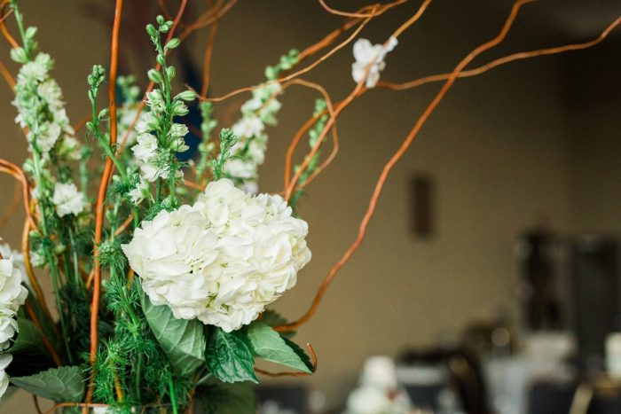 Hydrangea and Curly Willow Branches Wedding Centerpieces: Warm & Romantic Winter Wedding at Duquesne from Loren DeMarco Photography featured on Burgh Brides