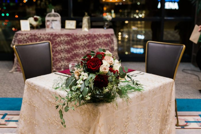 Wedding Sweetheart Table Decor: Warm & Romantic Winter Wedding at Duquesne from Loren DeMarco Photography featured on Burgh Brides