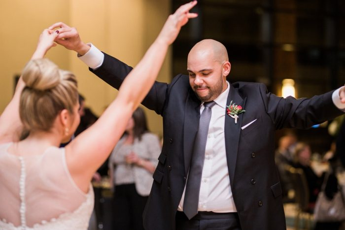 Bride and Groom Dancing: Warm & Romantic Winter Wedding at Duquesne from Loren DeMarco Photography featured on Burgh Brides