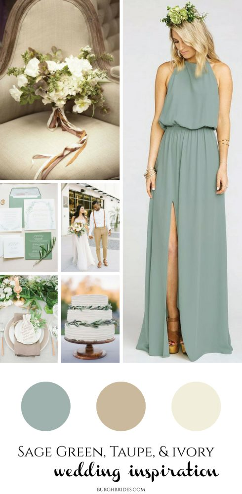 Sage Green, Taupe, & Ivory Wedding Inspiration from Burgh Brides