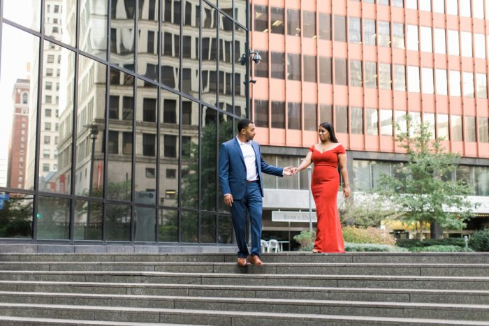 Dressy Downtown Pittsburgh Engagement Session from Steven Dray Images featured on Burgh Brides