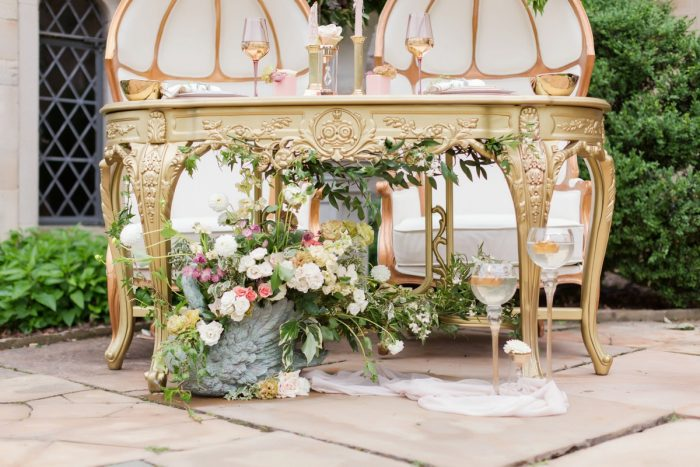 Gold Sweetheart Table: English Garden Wedding Inspiration from Hello Productions and April Smith Photography featured on Burgh Brides