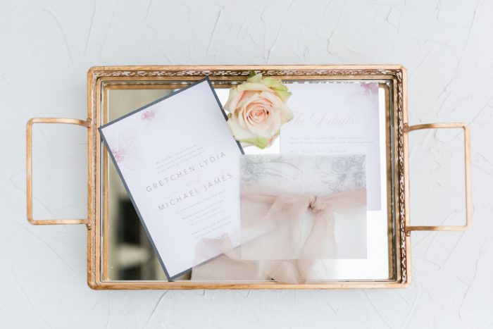 Soft Wedding Stationery Suite: English Garden Wedding Inspiration from Hello Productions and April Smith Photography featured on Burgh Brides