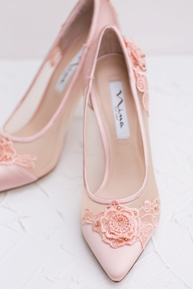 Pink Wedding Shoes: English Garden Wedding Inspiration from Hello Productions and April Smith Photography featured on Burgh Brides