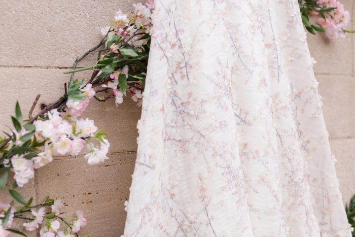 Floral Wedding Dress: English Garden Wedding Inspiration from Hello Productions and April Smith Photography featured on Burgh Brides