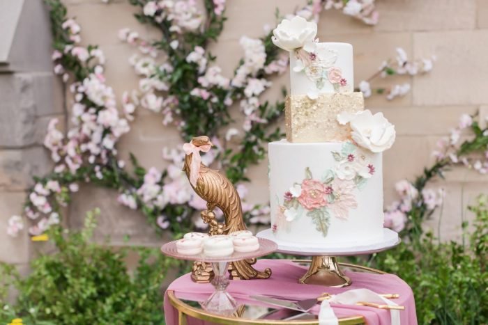 Pink and gold wedding cake: English Garden Wedding Inspiration from Hello Productions and April Smith Photography featured on Burgh Brides