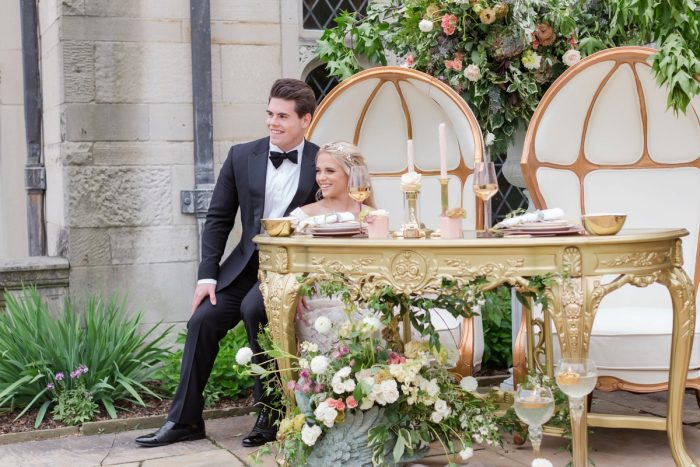 Gold sweetheart table at wedding: English Garden Wedding Inspiration from Hello Productions and April Smith Photography featured on Burgh Brides