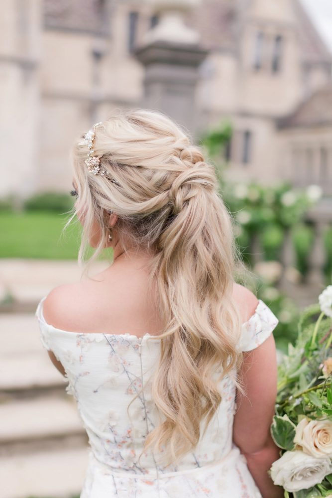 Bridal hair ponytail ideas: English Garden Wedding Inspiration from Hello Productions and April Smith Photography featured on Burgh Brides