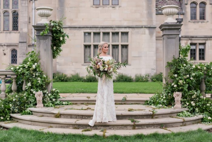 Stone mansion wedding: English Garden Wedding Inspiration from Hello Productions and April Smith Photography featured on Burgh Brides