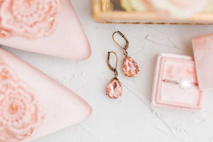 Blush pink and rose gold bridal earrings: English Garden Wedding Inspiration from Hello Productions and April Smith Photography featured on Burgh Brides