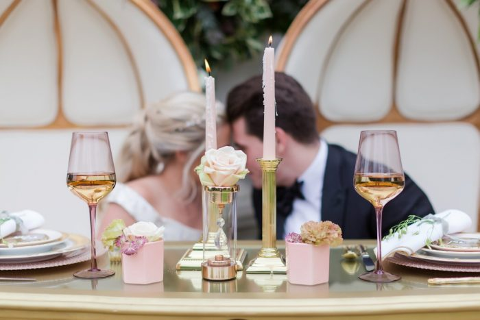 Pink and gold sweetheart table decor: English Garden Wedding Inspiration from Hello Productions and April Smith Photography featured on Burgh Brides
