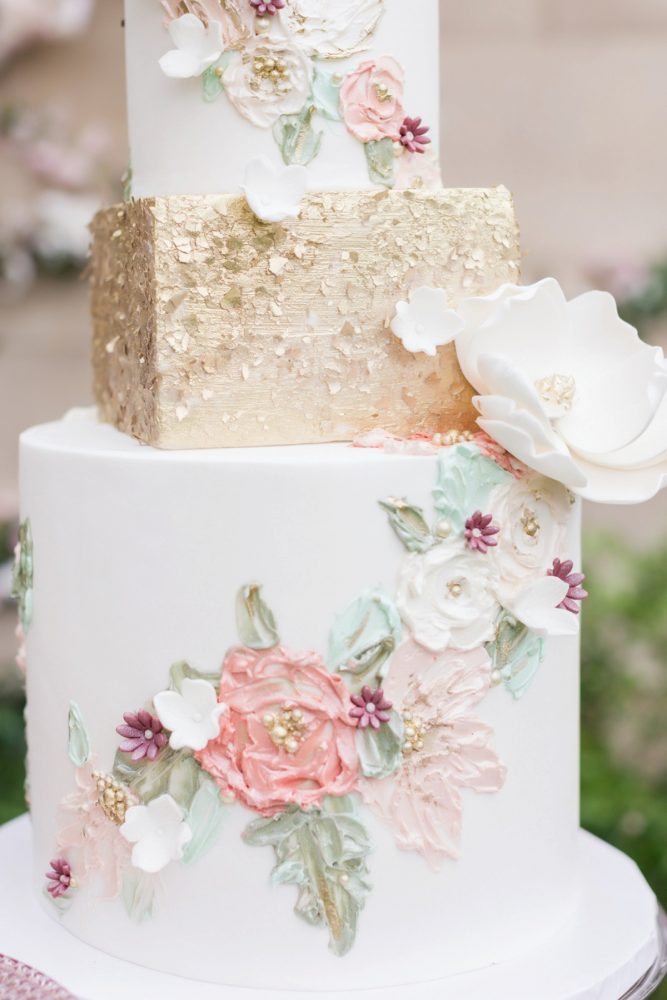 Handpainted pink and gold wedding cake: English Garden Wedding Inspiration from Hello Productions and April Smith Photography featured on Burgh Brides