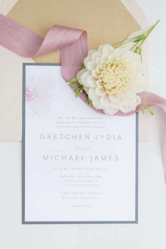 Soft and neutral wedding invitation: English Garden Wedding Inspiration from Hello Productions and April Smith Photography featured on Burgh Brides