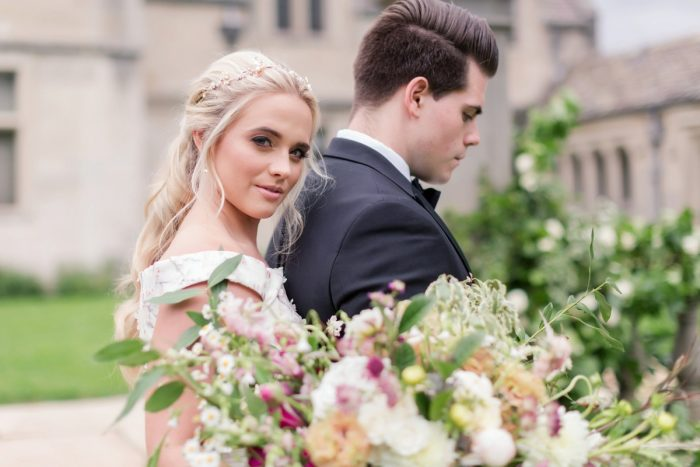 Off the shoulder wedding dress: English Garden Wedding Inspiration from Hello Productions and April Smith Photography featured on Burgh Brides