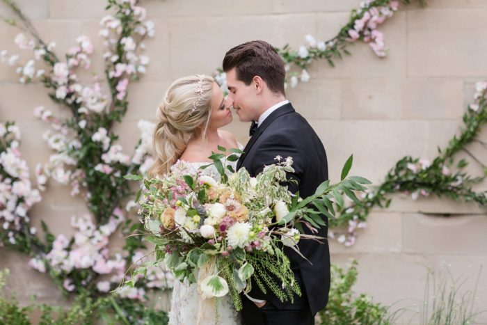 Textural bridal bouquet: English Garden Wedding Inspiration from Hello Productions and April Smith Photography featured on Burgh Brides