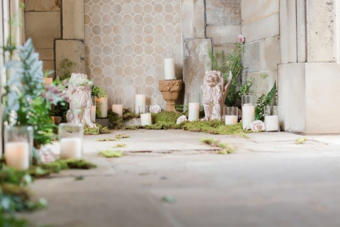 Moss and candle wedding decor: English Garden Wedding Inspiration from Hello Productions and April Smith Photography featured on Burgh Brides