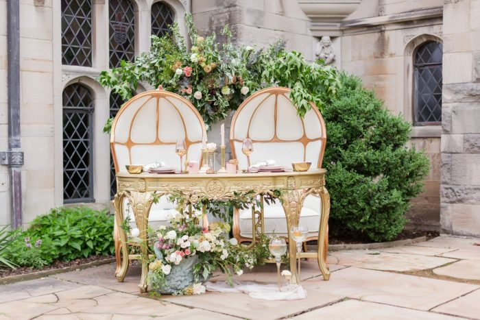 Gold sweetheart table wedding decor: English Garden Wedding Inspiration from Hello Productions and April Smith Photography featured on Burgh Brides