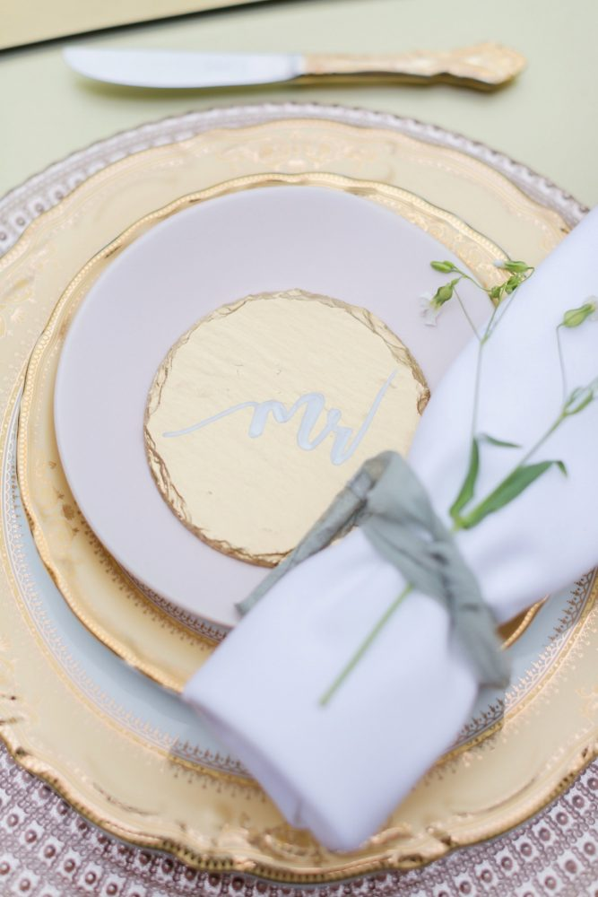 Gold wedding decor ideas: English Garden Wedding Inspiration from Hello Productions and April Smith Photography featured on Burgh Brides