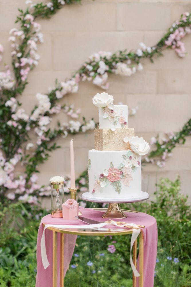 Blush pink and gold hand painted wedding cake: English Garden Wedding Inspiration from Hello Productions and April Smith Photography featured on Burgh Brides