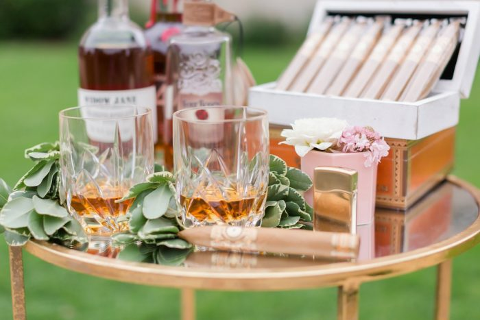 Cigar and scotch bar at wedding: English Garden Wedding Inspiration from Hello Productions and April Smith Photography featured on Burgh Brides