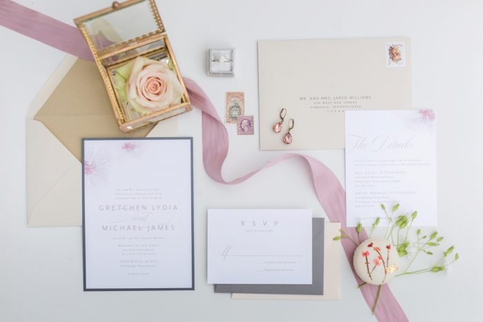 Pastel wedding invitation: English Garden Wedding Inspiration from Hello Productions and April Smith Photography featured on Burgh Brides
