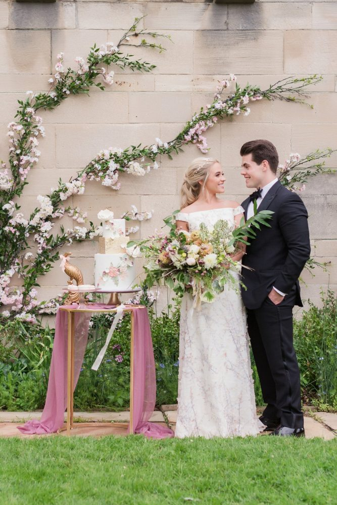 Cherry blossom inspired wedding cake: English Garden Wedding Inspiration from Hello Productions and April Smith Photography featured on Burgh Brides
