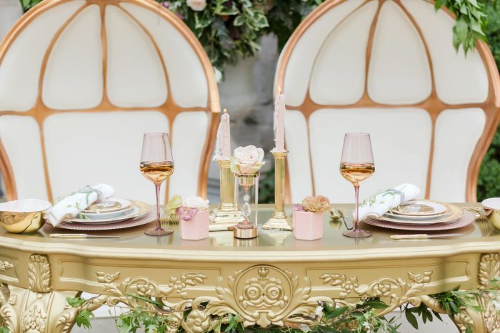 Blush pink and gold wedding decor: English Garden Wedding Inspiration from Hello Productions and April Smith Photography featured on Burgh Brides