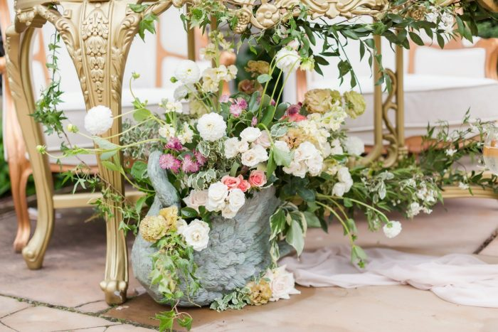 Wedding sweetheart table florals: English Garden Wedding Inspiration from Hello Productions and April Smith Photography featured on Burgh Brides
