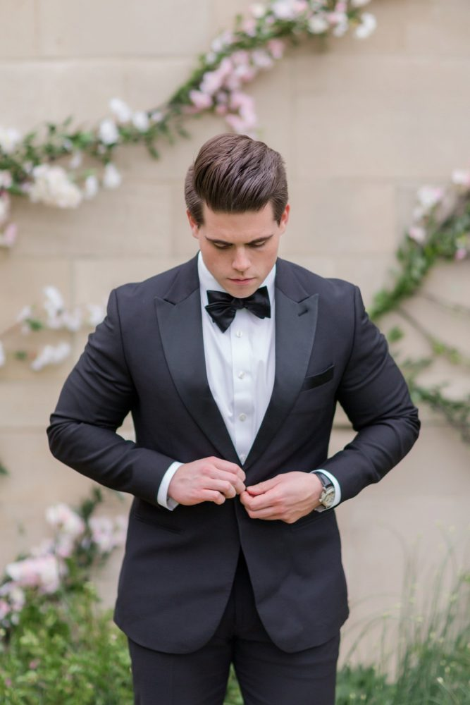 Groom black and white tuxedo: English Garden Wedding Inspiration from Hello Productions and April Smith Photography featured on Burgh Brides