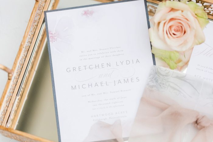 Pink and blue wedding invitation suite: English Garden Wedding Inspiration from Hello Productions and April Smith Photography featured on Burgh Brides