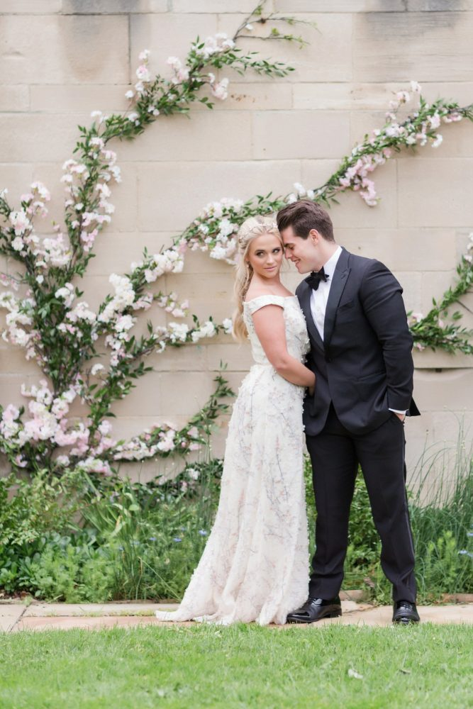 Bride and groom cherry blossoms: English Garden Wedding Inspiration from Hello Productions and April Smith Photography featured on Burgh Brides