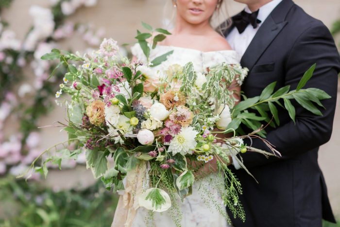 Boho wedding bouquet: English Garden Wedding Inspiration from Hello Productions and April Smith Photography featured on Burgh Brides