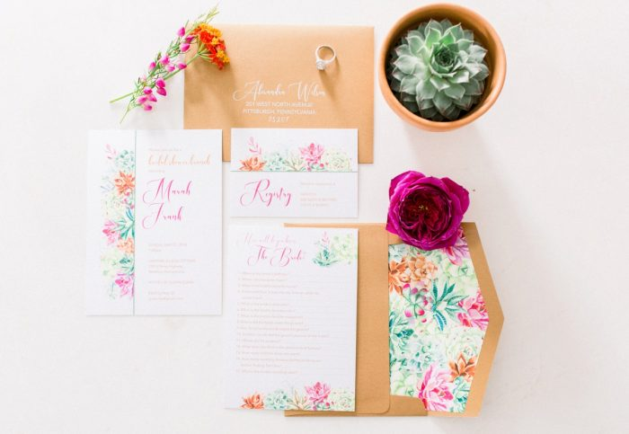 Colorful & Bright Wedding Stationery Suite: Girly Cactus Themed Bridal Shower Inspiration from Olive & Rose Events and Abbie Tyler Photography featured on Burgh Brides