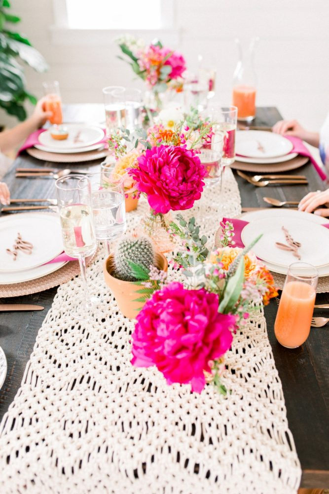 Pink Flowers and Cactus Centerpieces: Girly Cactus Themed Bridal Shower Inspiration from Olive & Rose Events and Abbie Tyler Photography featured on Burgh Brides