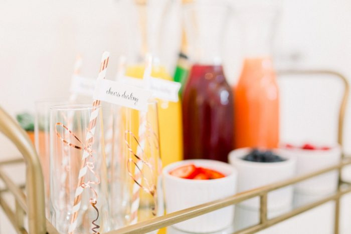 Mimosa Bar at Bridal Shower: Girly Cactus Themed Bridal Shower Inspiration from Olive & Rose Events and Abbie Tyler Photography featured on Burgh Brides