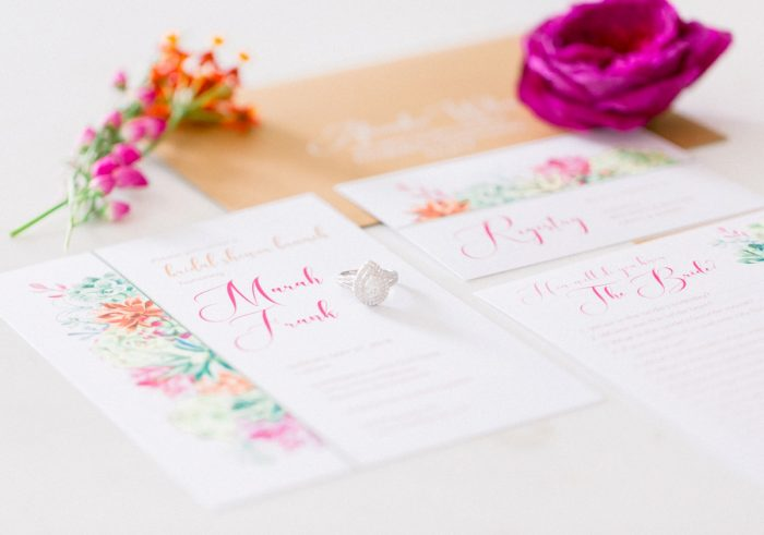 Pink and Green Wedding Stationery Design: Girly Cactus Themed Bridal Shower Inspiration from Olive & Rose Events and Abbie Tyler Photography featured on Burgh Brides