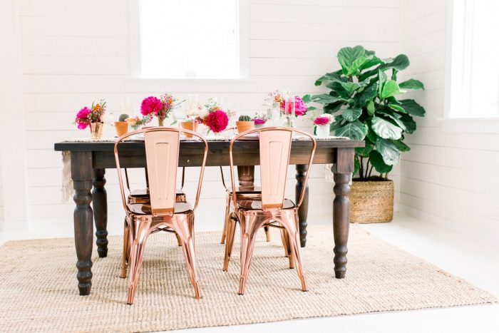 Copper Chairs at Wooden Table with Pink Flowers: Girly Cactus Themed Bridal Shower Inspiration from Olive & Rose Events and Abbie Tyler Photography featured on Burgh Brides