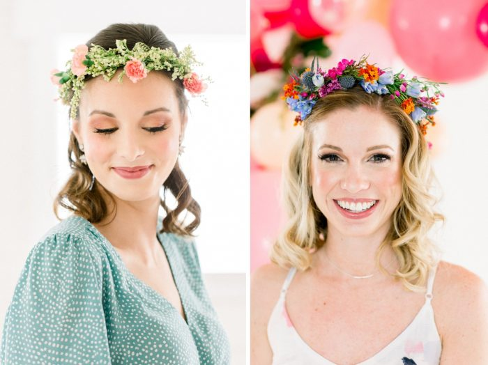 Bridesmaids in Flower Crowns at Bridal Shower: Girly Cactus Themed Bridal Shower Inspiration from Olive & Rose Events and Abbie Tyler Photography featured on Burgh Brides
