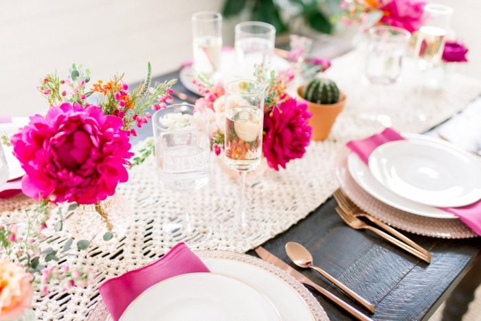 Macrame Table Runner with Copper Flatware and Pink Napkins: Girly Cactus Themed Bridal Shower Inspiration from Olive & Rose Events and Abbie Tyler Photography featured on Burgh Brides