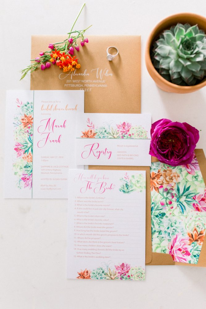 Colorful Pink Wedding Stationery Suite: Girly Cactus Themed Bridal Shower Inspiration from Olive & Rose Events and Abbie Tyler Photography featured on Burgh Brides