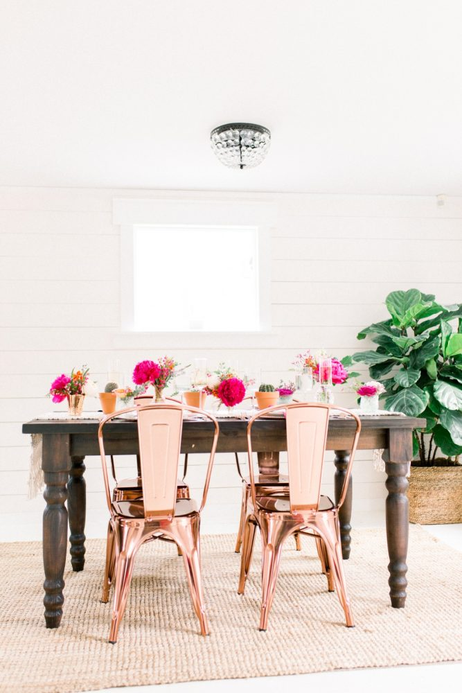 Copper chairs and wooden table with pink flowers: Girly Cactus Themed Bridal Shower Inspiration from Olive & Rose Events and Abbie Tyler Photography featured on Burgh Brides