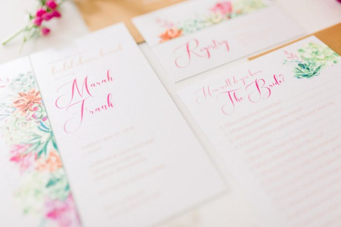 Bright wedding stationery design: Girly Cactus Themed Bridal Shower Inspiration from Olive & Rose Events and Abbie Tyler Photography featured on Burgh Brides