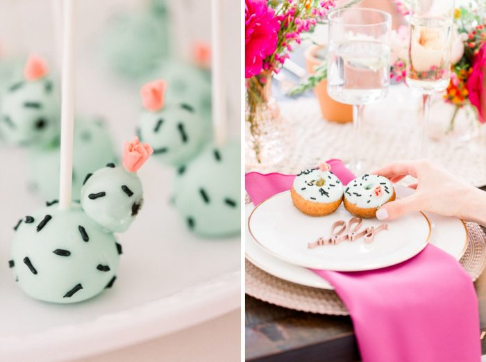 Cactus dessert table: Girly Cactus Themed Bridal Shower Inspiration from Olive & Rose Events and Abbie Tyler Photography featured on Burgh Brides